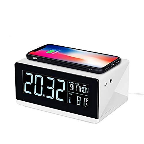 BESTNIFY Radiowecker Qi Wireless Charger, Bluetooth Lautsprecher Fast Induktive Ladegerät Digitaler Wecker Induktive Ladeständer Dual Wecker Ladestation