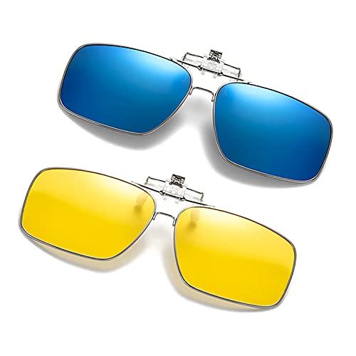 ffniwo KKKKKK Clip de Metal en Gafas de Sol para Las Gafas de Myopia Gafas de Sol planeadas polarizadas (Color : 2 Mirror Blue)