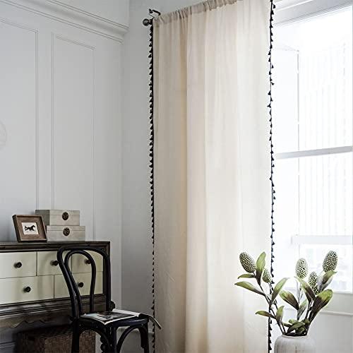 Tende da finestra semi-oscurante in tessuto semplice 1 pezzo per soggiorno camera da letto, stile gancio 59 'W x 70,8' L (150x180 cm)