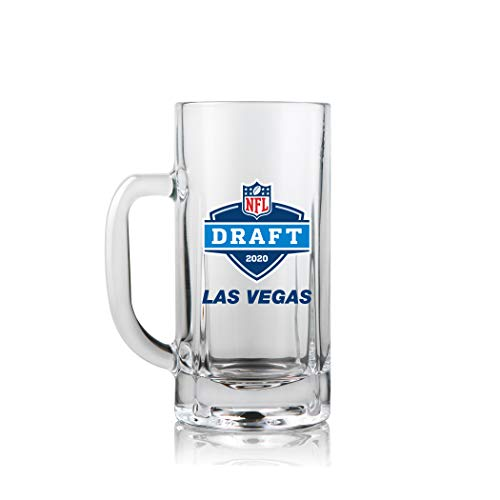 NFL Draft Mug 2020 | Denver Broncos | Heavy Duty Glass with Handle | Weighted Base | Crystal Clear | Works Great for Beer/Shakes/Smoothies/Coffee, 20oz. Denver Broncos Freezer Mug