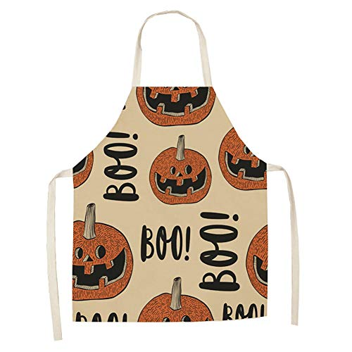 Poseca Halloween Schürze Kürbis Druck Paar Schürze Baumwolle Leinen Multifunktions Küchenschürze Chefkostüm