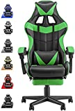 Soontrans Game Chair,Green Gaming Chair with Footrest, Ergonomic Gaming Computer Chair with Height Adjustment,Headrest and Lumbar Support(Jungle Green)