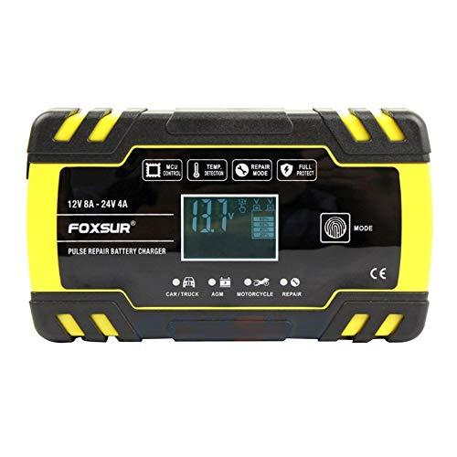 Giallo Vige FOXSUR 12V Caricabatteria Automatico Automatico per Auto e Moto ups Display LCD EFB AGM Gel Caricabatterie per Riparazione di impulsi