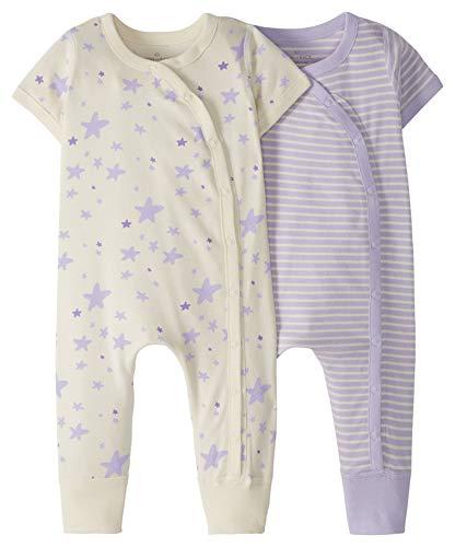 Moon and Back de Hanna Andersson - Pack de 2 peleles de manga corta hechos de algodón orgánico para bebé, Púrpura, 0-3 messes (46-56 CM)