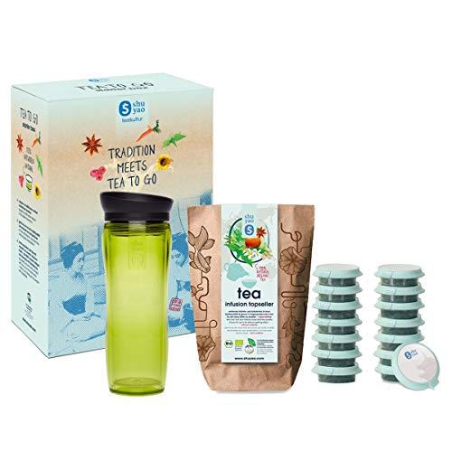 Shuyao Tea to Go Theezeef, starterdoos, thermobeker met geïntegreerde theezeef + 5 x 3 losse biologische thee zonder cafeïne, groen, 32 cm