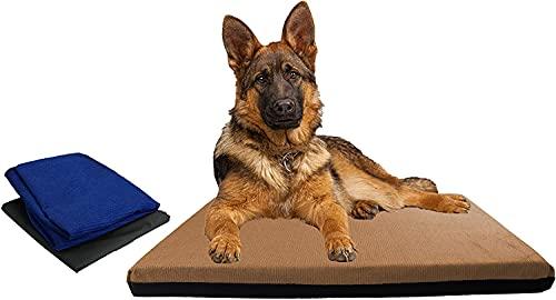 Acomoda Textil - Cama Perros Impermeable y Desenfundable. Cama para Mascotas con Doble Funda, Colchón XL para Perros de Espuma. (120x80x4, Marrón)