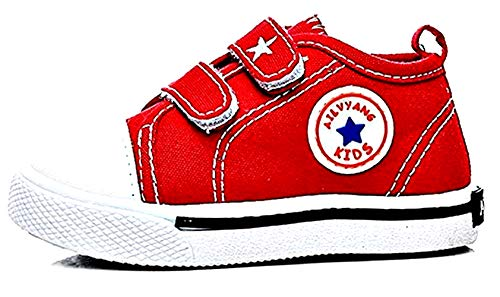 Scarpe da Ginnastica Tela - Bambini - Allacciatura a Strappo - Rosso - Taglia 13 - Idea Regalo Natale e Compleanno - 9-12 Mesi
