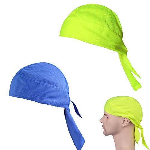 2 Piezas Sombrero de Ciclismo Deportivo,Sombreros Piratas de Secado Rápido/Sombreros de Protección Solar,Pañuelo de Bicicleta para Protección Solar de Verano al Aire Libre(Azul,Amarillo Fluorescente)