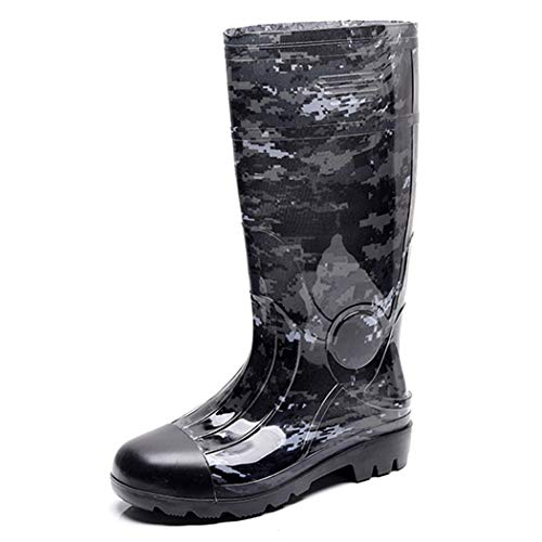 HHYHOME Mens Wellington Boots Safety Rain Shoes High Tube Wellies Boots Waterproof Outdoor Shoes Soft Fabric Lining Working Garden Welly Boots Best for Wet Weather,Camouflagegray,40EU