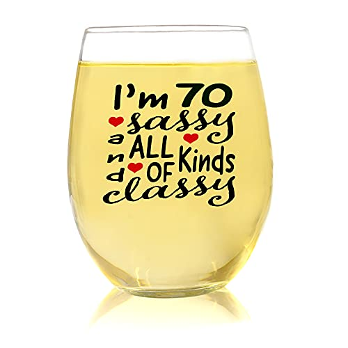 70 Sassy, Funny 70th Birthday Gifts for Women, Party Favors 70th Birthday Wine Glass, Mom 70th Birthday Gifts Ideas, Birthday Party 70th Bday Gifts for Her, 70th birthday Present, 1951 Birthday Gifts