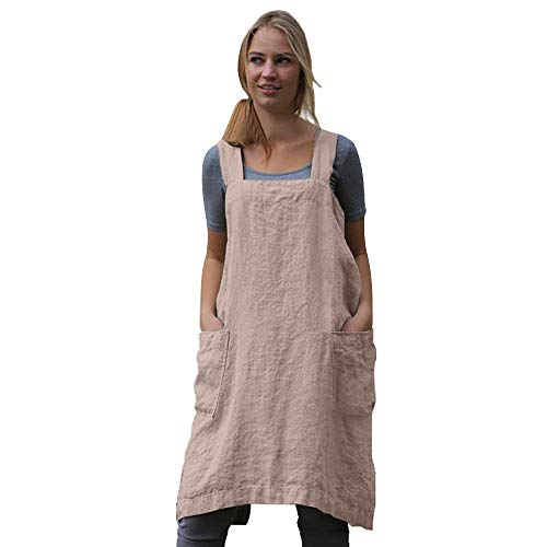 Women's Pinafore Square Apron Baking Cooking Gardening Works Cross Back Cotton/Linen Blend Dress with 2 Pockets Pink-3XL