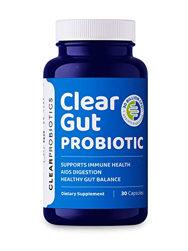 Clear Probiotics Clear Gut Probiotic Supplement for Gut Health (30 caps) – 30 Billion CFUs for Gut Restore, Digestive Health and Immune Support – Shelf Stable, Non-GMO Adult Probiotics Capsules