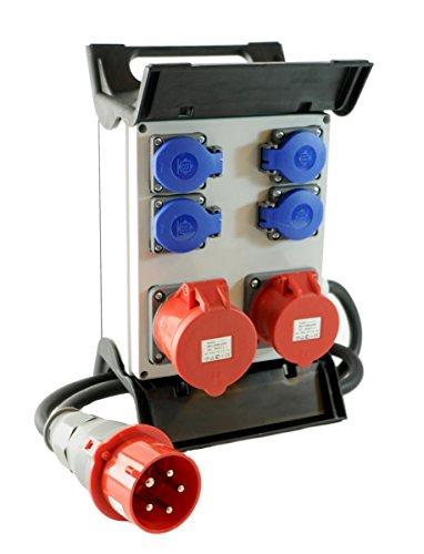 Mobiler Baustromverteiler/Standverteiler 4 x 230V/16A Schuko & 1 x CEE 16A/400V & 1 x CEE 32A/400V verdrahtet & 1,5m Zuleitung