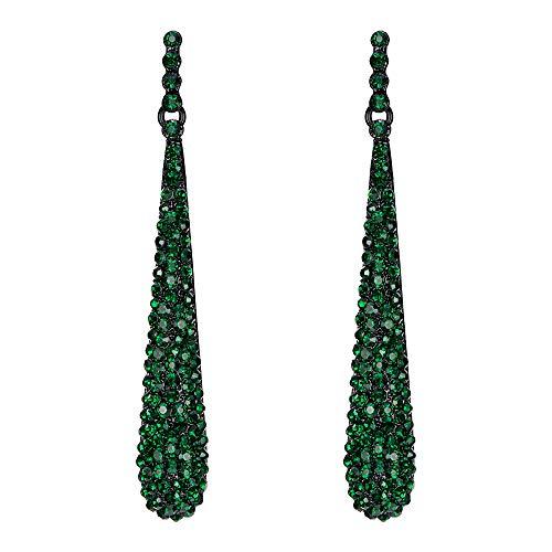 Pendientes Largos de Mujer - Clearine Aretes en Forma de Lágrima, Estilo Elegante Precioso Cristales para Boda Novia Fiesta Verde