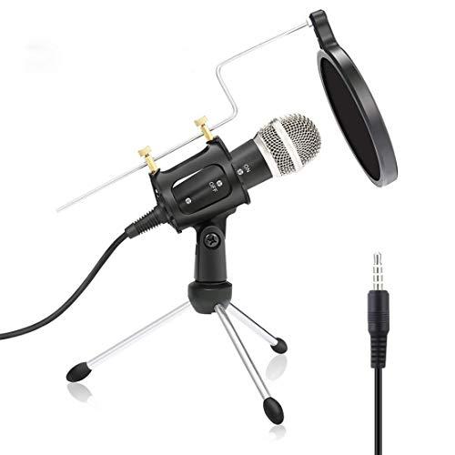xiaohuozi Conjunto de Micrófono de Computadora Teléfono Celular Potente Micrófono de Condensador Disfruta de la Música en Cualquier Momento