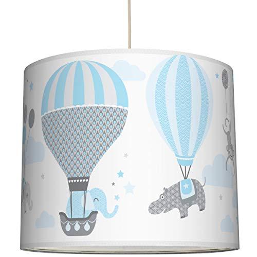 Anna Wand Hängelampe HOT AIR Balloons HELLBLAU/GRAU – Lampenschirm für Kinder/Baby Lampe mit Heißluftballons – Sanftes Kinderzimmer Licht Mädchen & Junge – ø 40 x 34 cm
