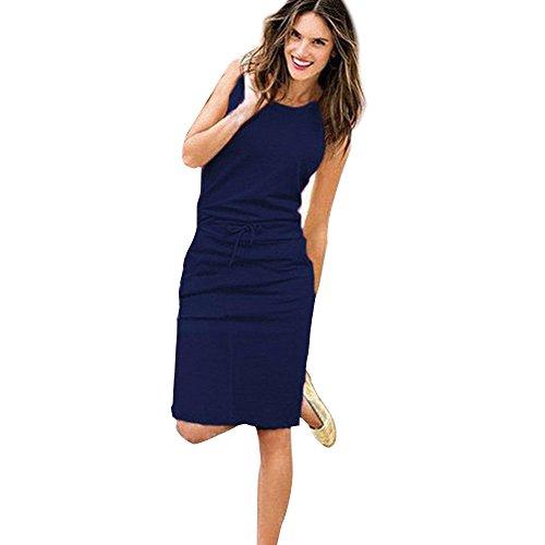 DAY.LIN Sommer Kleidung FüR Damen Damen Urlaub ärmelloses Sommerkleid Damen Sommer Strand lässig Partykleid (Marine, EU36 /M)