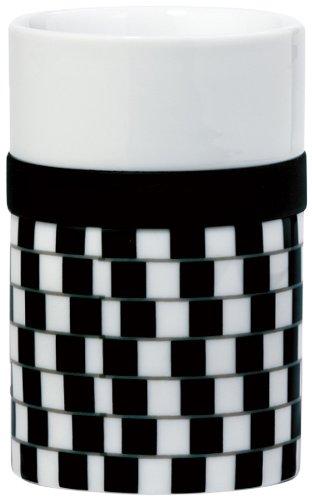 Po Selected Illusion Tazza Mug Termica in Porcellana con Anello in Silicone, Large, 7.9 x 7.9 x 13.2 cm, Colore: Bianco/Nero