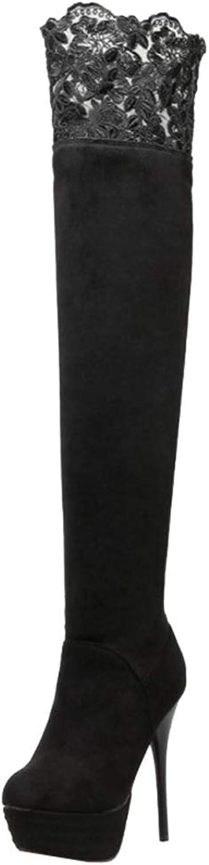 T T T -JULY Mode kvinnor Over -the -Knee stövlar Nubuck Cut -Outs med Round Toe Platform Long Stiletto Sexy skor  den mest fashionabla