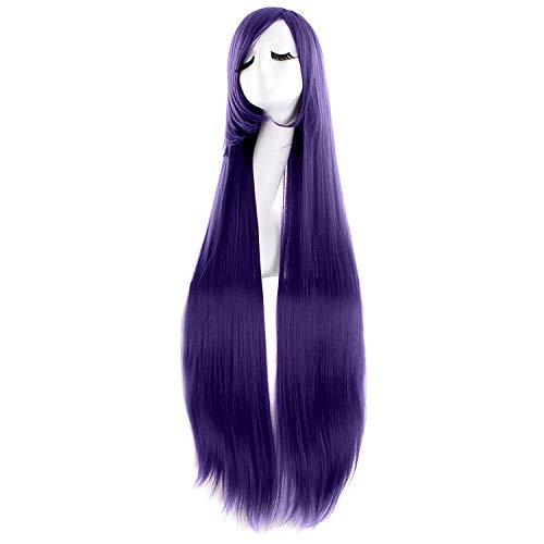 MapofBeauty 40' 100cm Anime Costume Long Straight Cosplay Wig Party Wig (Dark Purple)