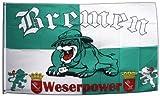Flaggenfritze Fahne/Flagge Bremen Bulldogge Weserpower + gratis Sticker