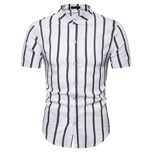 Camisa Hombre Verano Clásico Botón Placket Básico Ajuste Regular Hombre Casuales Camisa Moda Rayas/Cuadros Moderno Urbano Casual Hombre Manga Corta G-White L
