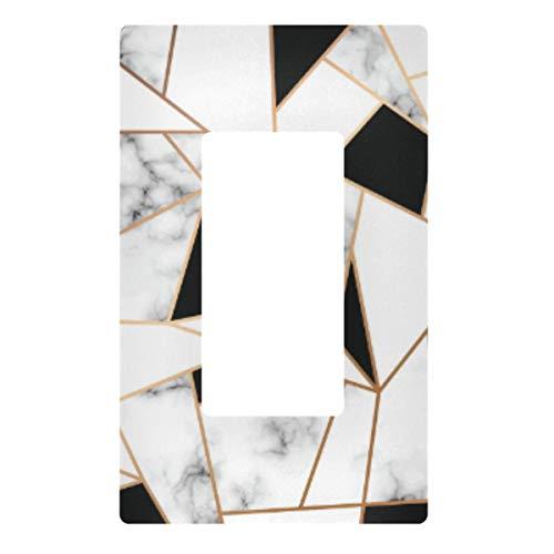Placa de pared para interruptor de luz decorativa – cubierta de placa de interruptor de marmol, cubierta de 3 bandas para enchufes eléctricos para dormitorio, cocina, decoración del hogar