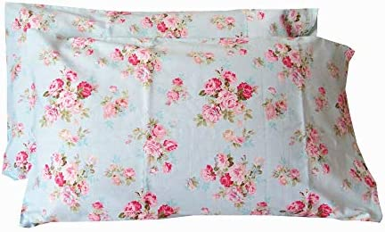 YIH Cotton Pillow Cases Standard Size Set of 2 Flower Printed Queen Pillowcases Premium Quality product image