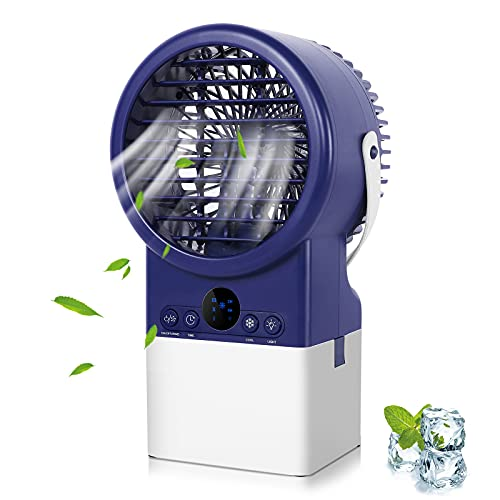 Winload Mini Luftkühler mit Wasserkühlung, Tragbare Klimagerät Ventilator, Luftbefeuchter, Luftreiniger, 2 Timer, 3 Kühlstufen, 7 Farben LED, Klein Persönliche Klimaanlage für Büro, Wohnheim und Hause
