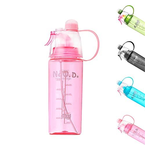 Kcanamgal Botellas de Agua Ciclismo sin Bpa Botella Spray Pulverizador para Bicicleta Gimnasio Running Gym Camping Personalizada Botellas Plastico Transparente Deportiva Niños Antigoteo,Pink 400ml