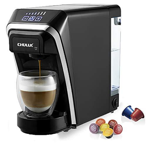 CHULUX Macchina da caffè a capsule 1400 W da 50 ml a 260 ml Serbatoio dell'acqua removibile da 0,8 L con Nespresso e Dolce Gusto Macchina a capsule multifunzionale per l'ufficio Schwarz