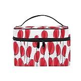 Emoya - Bolsa de maquillaje para mujer, diseño de amapola, color rojo
