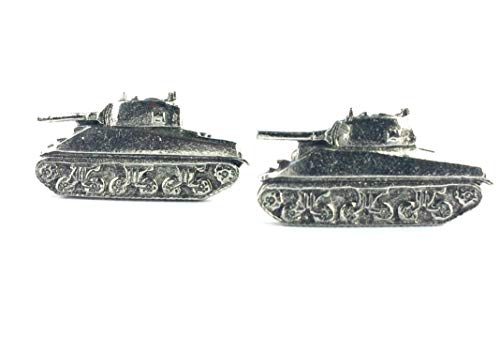 Sherman Tank Cufflinks, handmade in England from Fine English Pewter. Gift Boxed