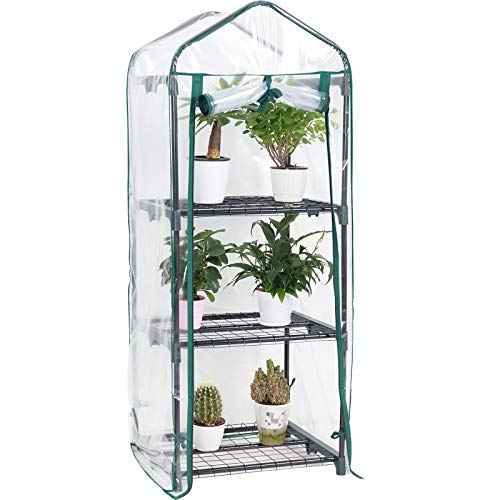 Display4top 3 Tier Mini Greenhouse With Transparent Plastic PVC Cover, Indoor outdoor tent garden greenhouse, Seedlings,...