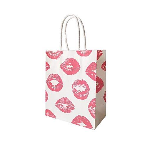 TOSISZ 10 Unids/Lote 15x18cm Bolsa de Papel de Regalo pequeña con Asas para Tienda de ModaFiesta deBodasNavidad Año Nuevo Bolsa de Regalo de Belleza Labios Perfume, Labios