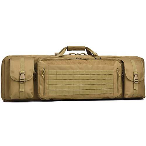 Double Long Rifle Gun Case Bag Tactical Rifle Backpack Pistol Soft Firearm Transportation Carbine Case - Lockable Compartment 42' Brown
