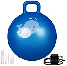 Trideer Hopper Ball Kids Exercise Ball Multi-Function, Jump Ball, Bouncy Ball with Handles, Kids Balance Ball and Ball Chair for Children Age 3-12, Air Pump Included (Blue Grotto, Small(Ages 3-7))