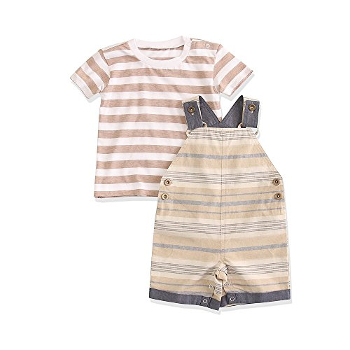 Best-you Baby boy Yarn Dyed Overall t-Shirt and Pants Suits 3-6 Month