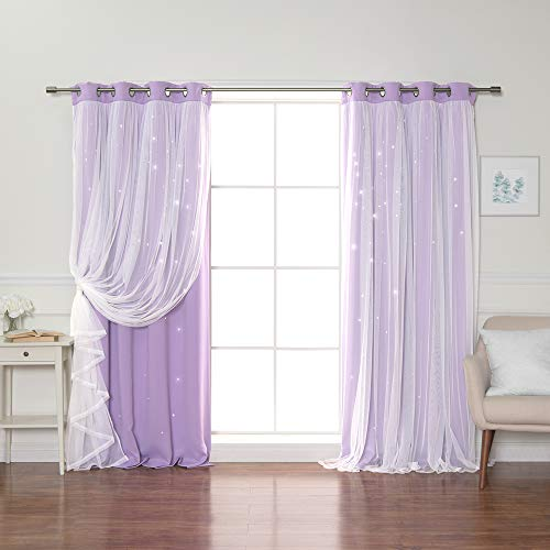 Best Home Fashion Tulle Overlay Star Cut Out Blackout Curtains - Stainless Steel Grommet Top - Lavender - 52' W x 96' L (Set of 2 Panels)