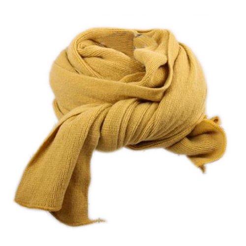 Dehang Schal, lang, Strickware, aus Baumwolle, einfarbig, für Damen weich modern–Khaki/Rot/Senfgelb