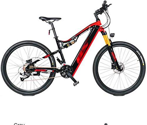 Leifeng Tower Alta Velocidad Las Bicicletas de montaña eléctricas, Rueda 27.5inch Adultos de la Bicicleta 27 velocidades Campo a través de Bicicletas Deportes al Aire Libre (Color : Red)