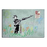キャンバスペインティング 銃の落書きHD壁アートキャンバスポスターとプリントキャンバス絵画の少年リビングルームの家の装飾のための装飾的な写真 60x90cm