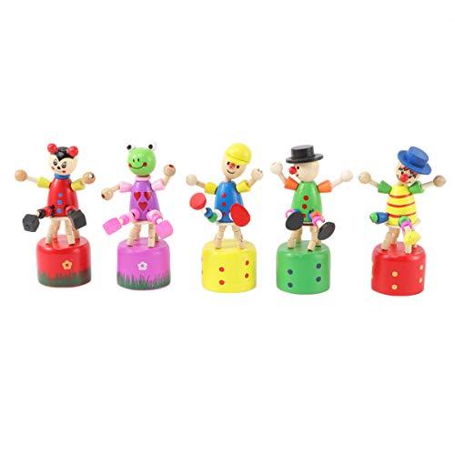 Healifty Figuras de Payaso de Madera Estatuilla Colorido Baile Muñeca Mecedora Juguete Oscilación...