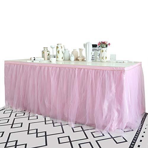 Tüll Tutu Tischrock Home Dekoration Röcke Tisch Flauschige Tuch Skirting, Rechteck oder Rund für Baby Dusche Hochzeit Geburtstag Rosa 6ft