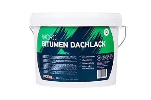 WORQ 10L Bitumen Dachlack, Isolieranstrich, Dachbeschichtung, Dachlack, Schutzlack. Regeneriere-Schützen-Flachdachbeschichtung- Dachreparatur