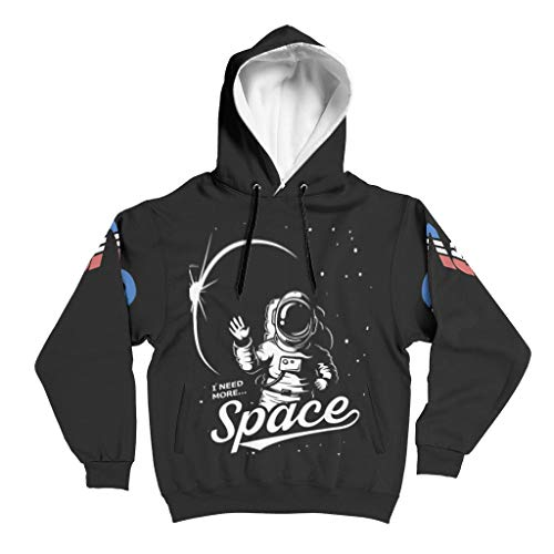 JEFFERS Herren Basic Sweatjacke Pullover NASA I Need More Space Longsleeve Langarm Kapuzenpullover Sweatjacke Für Männer White s