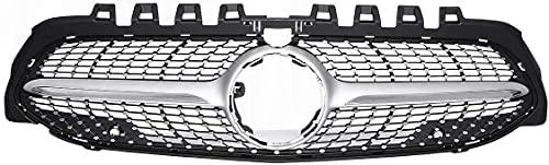 Zaaqio 2019 Diamond Grill, Parrilla de Parachoques Delantero de Coche para Mercedes para Benz A Class W177 A250 A200 A45 para AMG 2019 con cámara, Cromo Plateado