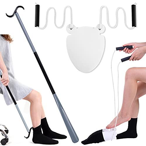 90cm Schuhlöffel Sockenhilfen,Sockenanzieher Sockenanziehhilfe Dressing Assist für ältere, Behinderte(Schuhlöffel mit Sockenhilfen)