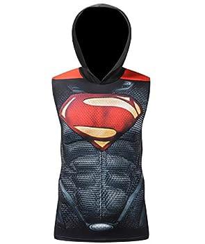 Red Plume Men's Sleeveless Hoodie Men / Gym Tank Tops Bodybuilding Sleeveless Workout Hoodie Muscle Cut Off Sweatshirt for Men  Black A XL
