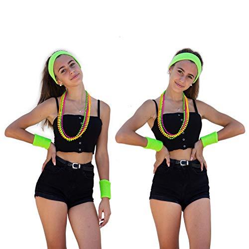 Oblique Unique® Neon Stirnband + Handgelenk Schweißband Set 3-teilig 80er Jahre 80s Achtziger Kopfband Haarband Armband für Karneval Fasching Kostüm Motto Party - Farbe wählbar (Neongrün)